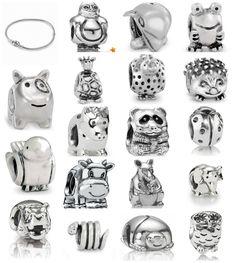 My Zoo.  Bracelet: Bracelet, Sterling Silver, Pandora Clasp 590702HV.  Charms: Charm Scarab 790526, Charms Hippo 790334, Ladybug 790135, Penguin 790423, Happy little bird 790424, Elephant 790480, Cow 790565, Horse/donkey 790479, Kangaroo with baby 790534, Owl 790278, Panda 790490EN16, Dolphin 790189, Froggie 790247, Giraffe 790274, Hedgehog 790333, Snake 790171, Doggie 790258.