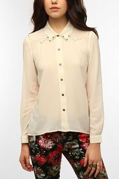 Staring at Stars Studded Sheer Yoke Chiffon Blouse