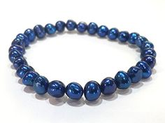 "Honora ""Royal Indigo"" Blue Freshwater Cultured Baroque Pearl Stretch Bracelet -- Continue to the product at the image link."