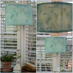 Love this DIY painted lampshade, in a color inspired by sea glass.