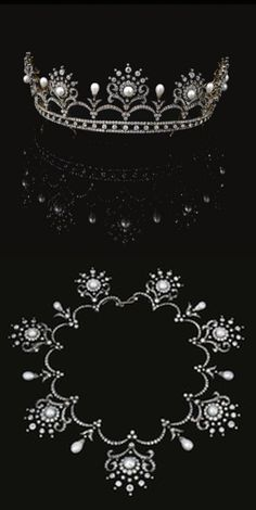 PEARL  AND  DIAMOND  TIARA/NECKLACE,  CIRCA  1900 Designed  as  a  graduated  series  of  scroll  and  cluster  motifs  set  with  rose,  circular-,  single-cut  and  cushion-shaped  diamonds  in  cut-down  collets,  each  centre  with  a  button-shaped  pearl,  the  arches  set  with  similar  stones  and  pearl  drops,  to  a  diamond  set  lower  tiers