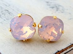 Pink opal studs, Opal earrings, pink opal Swarovski crystal stud earrings, Bridal earrings, Bridesmaid gifts, gold or silver, gift for her
