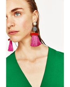 Image 4 of FAUX PEARL EARRINGS WITH FRINGE from Zara