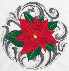 Baroque Christmas Poinsettia design (K2509) from www.Emblibrary.com