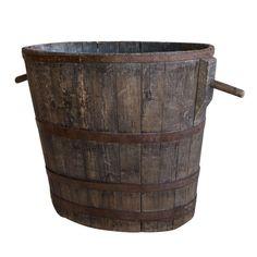 Antique French oak grape barrel with its original oak peg handles. Would make a wonderful basket for you logs!