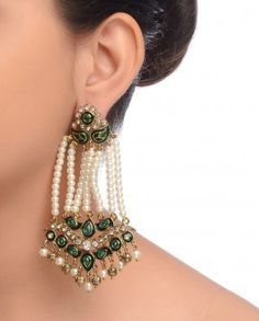 2478acdff78 Silver Jhumki Earrings with Red Stones