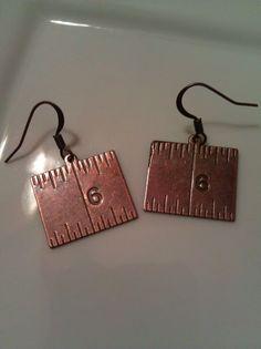 copper ruler earrings