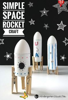 Simple Rocket Space Craft for Kids<br> Space Projects, Craft Projects, Craft Activities, Preschool Crafts, Space Activities For Kids, Outer Space Crafts For Kids, Recycling Activities For Kids, Science Crafts For Kids, Recycling Projects For Kids