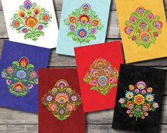 Wycinanki Blank Note Cards traditional Polish Design Bright Floral Set of 7 Folk Style Folk Art Flowers, Flower Art, Flowers For Valentines Day, Polish Folk Art, Folk Style, Papercutting, Folk Fashion, Hippie Art, Cat Colors