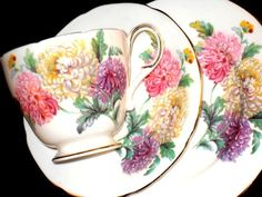 PARAGON Trio CHRYSANTHEMUMS Floral SHABBY CHIC