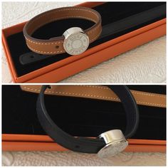Hermes bracelet Authentic Hermes bracelet like new. Set of two. Comes with the box. Fits small and Medium wrest Hermes Jewelry Bracelets