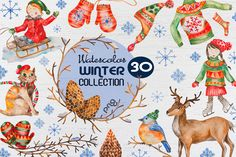 Watercolor Winter Collection by LidiaP on Creative Market