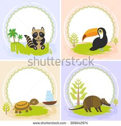 toucan bird, raccoon, turtle, armadillo, set of cards design  with funny animals, template banner for your text with round frame. Vector