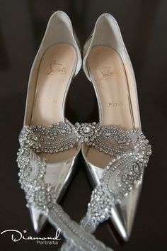 Mr Louboutin, what divine shoes to compliment this sparkling belt! Brides getting so glamorous bling Silver Wedding Shoes, Silver Shoes, Bling Wedding, Wedding Shoot, Our Wedding, Creative Portraits, Just Married, Wedding Portraits, Beautiful Images