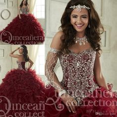 Maroon Quinceanera Dresses 2017 Sweep Train Tiered Cascading Ruffles Pageant Gown Luxury Crystal Corset Sweetheart 16 Masquerade Party Dress Mermaid Wedding Dress Long Sleeve Wedding Dresses Lace Wedding Dress Online with $238.86/Piece on Kazte's Store | DHgate.com