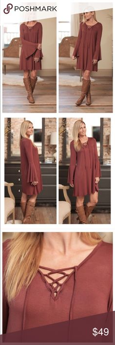 NEW ARRIVAL🎉🆕Boho Bell Lace Up Dress This dress is the perfect mix of flirty fun and casual. Just the right amount of bell sleeves. Soft non cling material with a lace up detail makes this a must have for fall. Pairing with a tall boot and a blanket scarf, you can't go wrong. **Check separate listing to pair with the perfect blanket scarf. 95% rayon 5% spandex. Made in the USA🇺🇸 🚫trades 💰 save with a bundle💰 Infinity Raine Dresses Long Sleeve