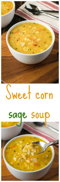 Sweet Corn and Sage Soup ~ Loaded with flavor from fresh sweet corn, right off the cob. Plus onions, potatoes, bell peppers, and fresh sage - yum! ~ from Culinary Ginger