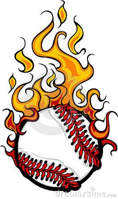 Flaming Baseball or Softball Ball Logo by Dennis Crow, via Dreamstime