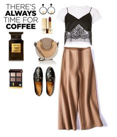 """""""Coffee date ☕"""" by ratjuli ❤ liked on Polyvore featuring Chloé, Gucci, Michelle Mason, Tom Ford, Yves Saint Laurent, Chanel and CoffeeDate"""