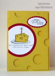 Giggle greetings cheese, using supplies from Stampin' Up! www.craftingandstamping.com #stampinup