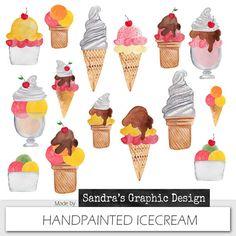 Icecream clipart SUMMER ICECREAM with happy by SandraGraphicDesign, €3.50