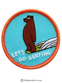 """Let's Go Surfing embroidered patch. Sew on/ iron on. Dimensions: 6cm diameter (2.4""""). Free Worldwide Shipping: Ships from Australia in a regular envelope. Sorry! no tracking available, expect snail ma"""