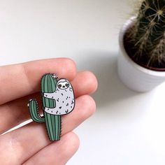 PRE-ORDER Sloth Enamel Pin Cute Enamel Pin Sloth Cactus
