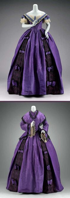 Dress, 1860s, of royal purple moiré faille. Boned evening bodice w/ tulle, lace, & periwinkle trim. Royal purple moiré faille day bodice trimmed w/ black silk bobbin lace & carnival glass buttons. Royal purple moiré faille skirt trimmed w/ black Chantilly lace & purple bows. Worn by Jessie Benton Fremont