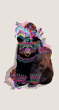 Doodle multicoloured bear