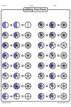 Free graphical adding fraction worksheets creates graphical representations of the fractions. The fractions looks like a colored pie. This visual way of working is a good exercise for the beginners. Fractions Worksheets, Kids Math Worksheets, Math Fractions, Math Activities, Math Games, Math For Kids, Fun Math, Adding Fractions, Math Graphic Organizers