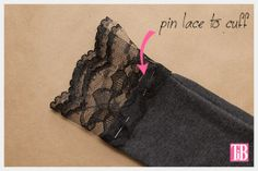 DIY T-Shirt with Lace Cuffs Pinning