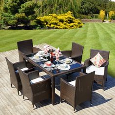 Rattan Garden Furniture Dining Table Set 6 Cube Chairs Conservatory Black Brown in Garden & Patio, Garden & Patio Furniture, Furniture Sets | eBay