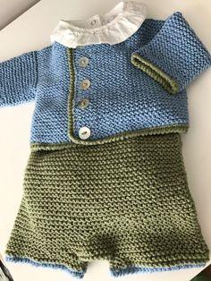 conjunto-jersey-pantalon-punto-algodon-ribete-hecho-a-mano Crochet For Boys, Crochet Baby, Knit Crochet, Baby Sweater Knitting Pattern, Baby Knitting, Baby Costumes For Boys, Diy Crafts Knitting, Baby Boy Booties, Eco Clothing