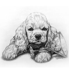 "Original Print of Drawing Buff Cocker Spaniel 8x10"" Signed by Sky Butler 