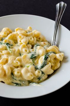Creamy Greek Yogurt Mac & Cheese ~ with spinach. The cheese sauce is creamy & it has a little dose of protein from the Greek yogurt. | Note: added sauteed mushrooms & garlic; increased cheese qty & did mix of sharp cheddar / white cheddar = a little more 'bulk' & still delicious!