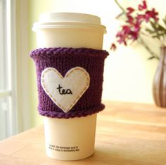 This is super cute!  A tea cup cozy is a great beginners project, and I love the addition of the felt heart!  Would make a really cute gift!