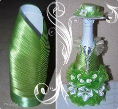 Декор предметов 8 марта Моделирование конструирование Цумами Канзаши Девушка Весна и как я делаю съёмную одежду для бутылок Бутылки стеклянн...