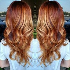 Pretty Golden Copper Ombre Balayage hair