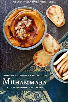 Muhammara - or Roasted Red Pepper and Walnut Dip with Pomegranate Molasses - is a delicious Middle Eastern appetizer dip made with roasted red peppers and walnuts, and perfect for any gathering! Gluten-free, dairy-free, vegan, and. Gourmet Recipes, Real Food Recipes, Vegetarian Recipes, Healthy Recipes, Vegetable Recipes, Cooking Recipes, Appetizer Dips, Appetizer Recipes, Snack Recipes