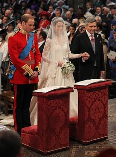 The wedding of Prince William, Duke of Cambridge, and Catherine Middleton took place on 29 April 2011 at Westminster Abbey in London. William and Kate as her father gives her away