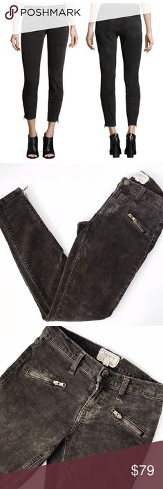 """➡Current/Elliot The Stiletto Skinny Ankle Jeans⬅ Denim dynamos Current/Elliott deliver instant """"It Girl"""" status with these must-have corduroy skinnies. Rendered in a cool gray hue with sleek zips at the front pockets and ankles, this is the pair to reach for day and night. 8"""" rise; 27"""" inseam; 10"""" leg opening. Angled zip pockets at front. Low rise; fitted through skinny legs. Button/zip fly; belt loops. Zip cuffs. Cotton/spandex. Machine wash. Made in USA of imported materials…"""
