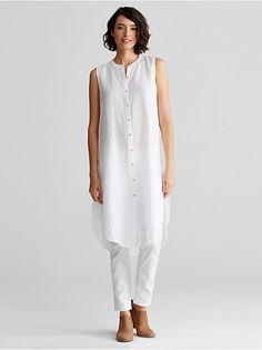 Mandarin Collar Sleeveless Long Shirt in Organic Handkerchief Designer Plus Size Clothing, Plus Size Womens Clothing, Plus Size Outfits, Clothes For Women, Classic White Shirt, Business Casual Dresses, Minimalist Fashion Women, Mandarin Collar, White Fashion