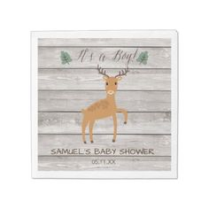 #rustic - #Rustic deer wood baby shower paper napkin