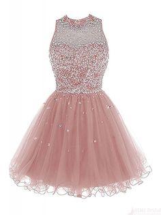 2017 pink homecoming dresses, 2017 beading tulle part dresses, shining short prom dresses #SIMIBridal #promdresses #homecomingdresses