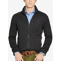 Polo Ralph Lauren Men's Jacquard Fleece Shawl Cardigan ($110) ❤ liked on Polyvore featuring men's fashion, men's clothing, men's sweaters, charcoal heather grey, mens sweaters, polo ralph lauren mens sweater, mens cardigan sweater, mens grey sweater and mens gray sweater