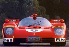 1970 Ferrari 512.  Arch rival to the Porsche 917; not as successful, but beautiful V12 sound, wonderful bodywork