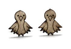 laser cut wooden earrings  Bird by CreativeUseofTech on Etsy