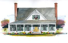 Looking for the best house plans? Check out the Magnolia Cottage plan from Southern Living. Southern Farmhouse, Farmhouse Plans, Southern Homes, Farmhouse Style, Southern Living House Plans, Farmhouse Flooring, Old Farm Houses, House Entrance, Hall House