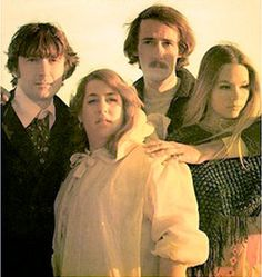 The Mamas and the Papas: L to R Denny Doherty, Cass Elliot, John Phillips, and Michelle Phillips.