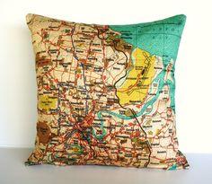 map, city maps BRISBANE Organic cotton map cushion cover, cushion cover, 16 inch, 41cm $59.58 USD
